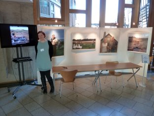 Alicia Bruce with her exhibition at the Scottish Parliament in February 2013