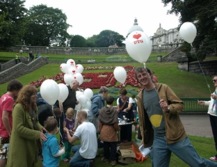 The helium balloons were popular