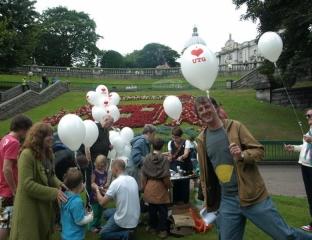 The helium balloons were popular
