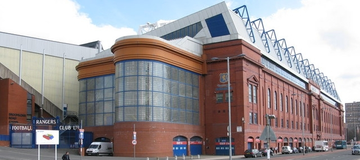Ibrox -   The home of  Rangers F.C. on Edmiston Drive, Glasgow. Rangers Football Club Gates also in view.