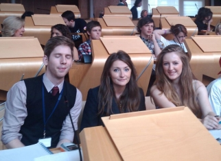 Kris, Megan and Ashleigh in the Scottish Parliament.