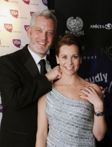 L-R Garreth Wood and Sally Finnie wearing the diamond necklace donated by Garreth and supported by Finnies the Jewellers