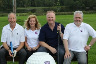 Pro-Am 2012 L-R Gordon Hutcheon, VSA Chair of Trustees Maggie Wilson, Alex McLeish, VSA Chief Executive Kenneth Simpson