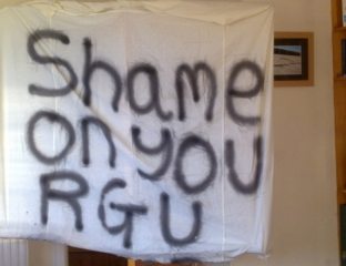 Small Banner Which Was Displayed At RGU Demo.