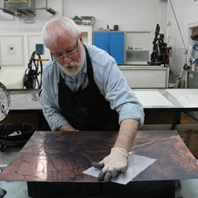 PVA. Michael Waight wiping a Frances Walker etching