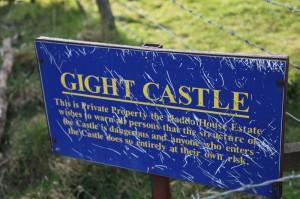 Gight Castle Sign. Image Credit: Duncan Harley