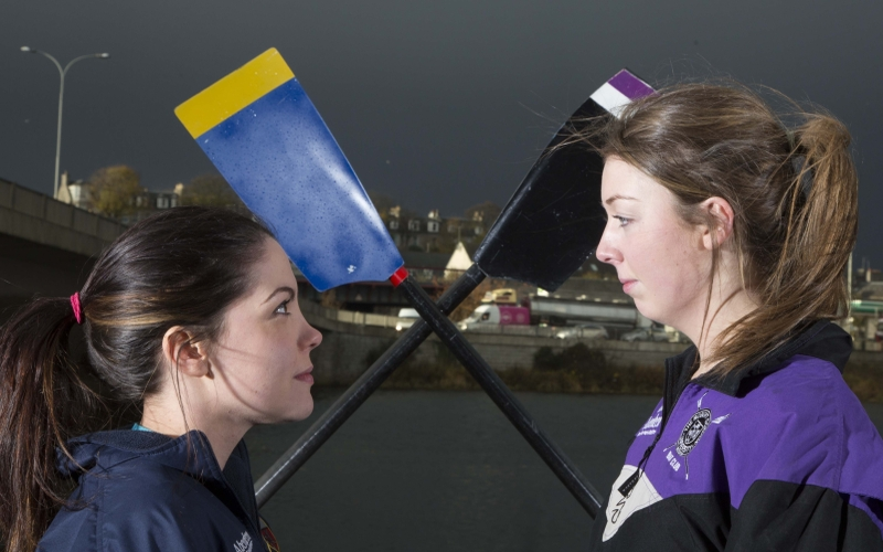 Left to Right    Lauren Cammaert and Gillian Paterson go head to head to launch the 2014 Aberdeen Asset Universities' Boat Race