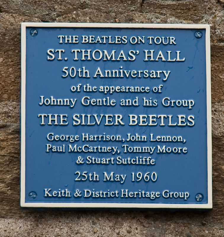 silver beetles plaque beside the entrance of St Thomas' Hall, Keith - Credit: Duncan Harley.