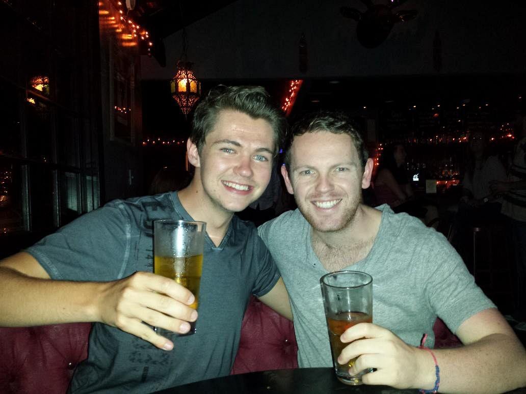 jonny and pal, 'glee' star damian mcginty