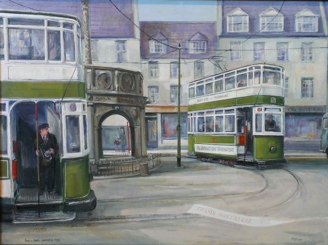 Aberdeen Trams, Castlegate, 1950 by Eric Auld. Rendezvous Gallery