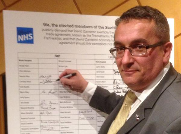 Signing the TTIP pledge at Holyrood