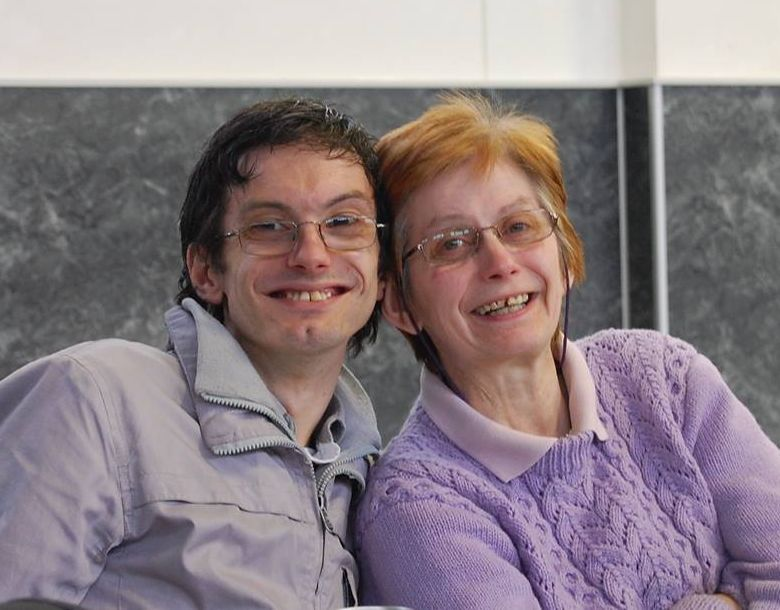 David Forbes with his mother to whom he is full-time carer.
