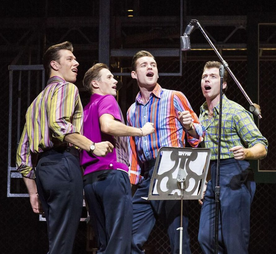 Lewis Griffiths, Tim Driesen, Sam Ferriday and Stephen Webb in JERSEY BOYS UK tour - Credit: Helen Maybanks
