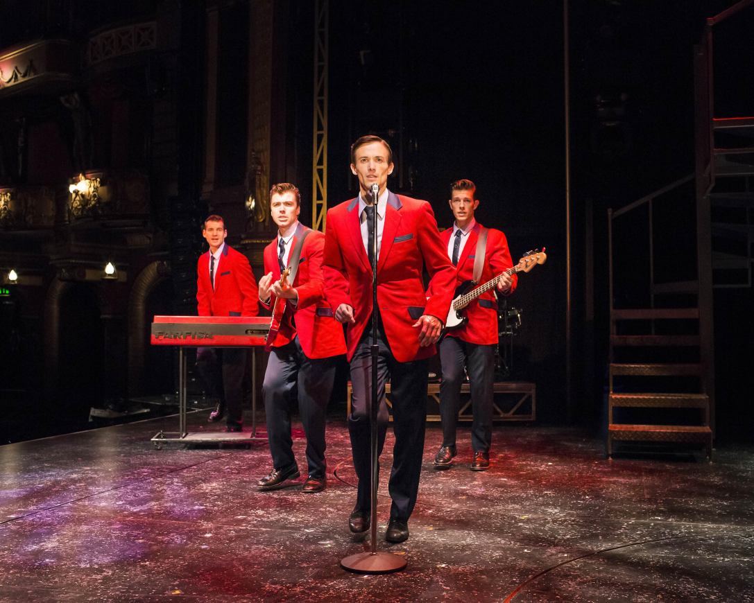 Sam Ferriday, Stephen Webb, Tim Driesen and Lewis Griffiths in JERSEY BOYS UK tour Credit: Helen Maybanks