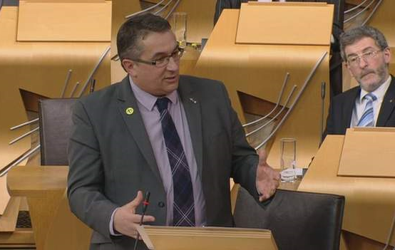 Christian Allard MSP debating at the Scottish Parliament