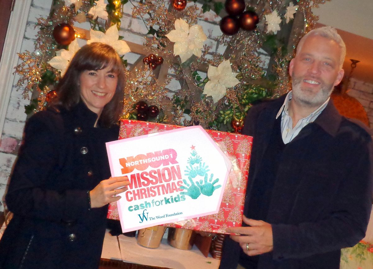 Mission Christmas launch - Michelle Ferguson, Cash for Kids, and Garreth Wood, The Wood Foundation