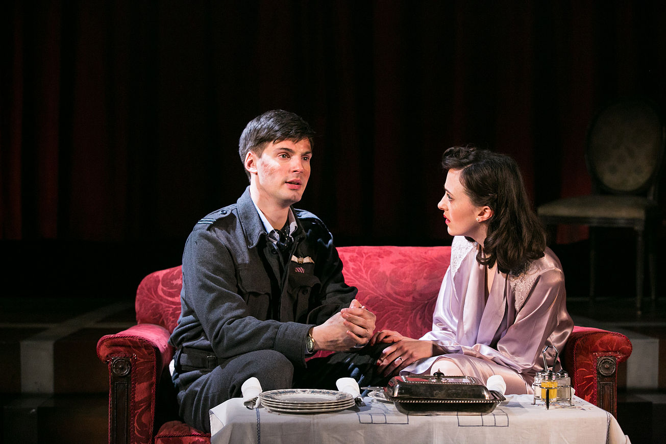 Daniel Fraser as Teddy Graham and Hedydd Dylan as Patricia Graham in the 2016 National tour of Flare Path. Credit: Jack Ladenburg