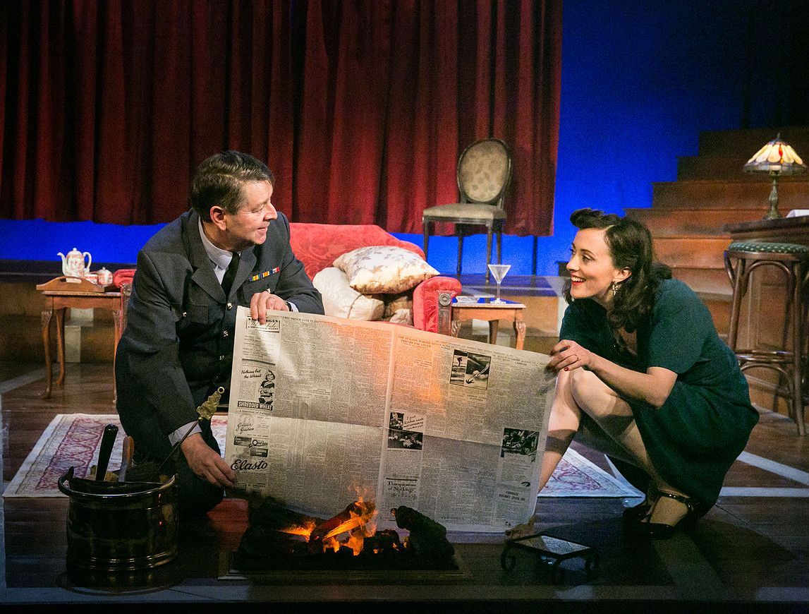 Graham Seed as Squadron Leader Swanson and Hedydd Dylan as Patricia Graham in the 2016 National tour of Flare Path credit Jack Ladenburg 2