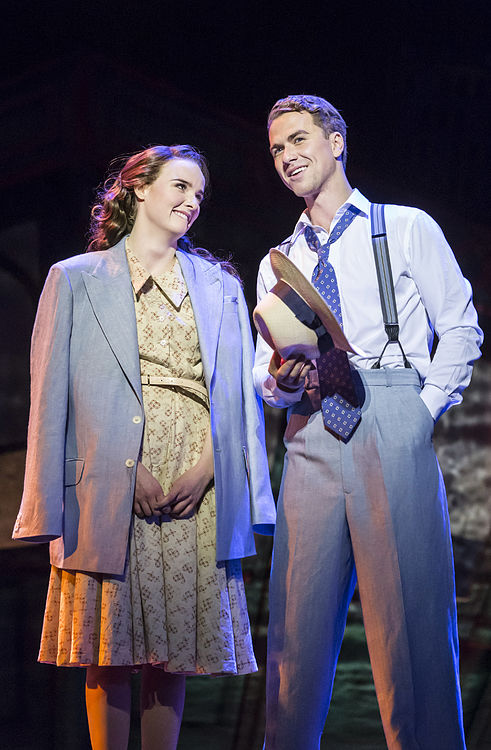 L-R, Anna O'Byrne (Sarah Brown), Richard Fleeshman (Sky Masterson) credit APA Guys and Dolls