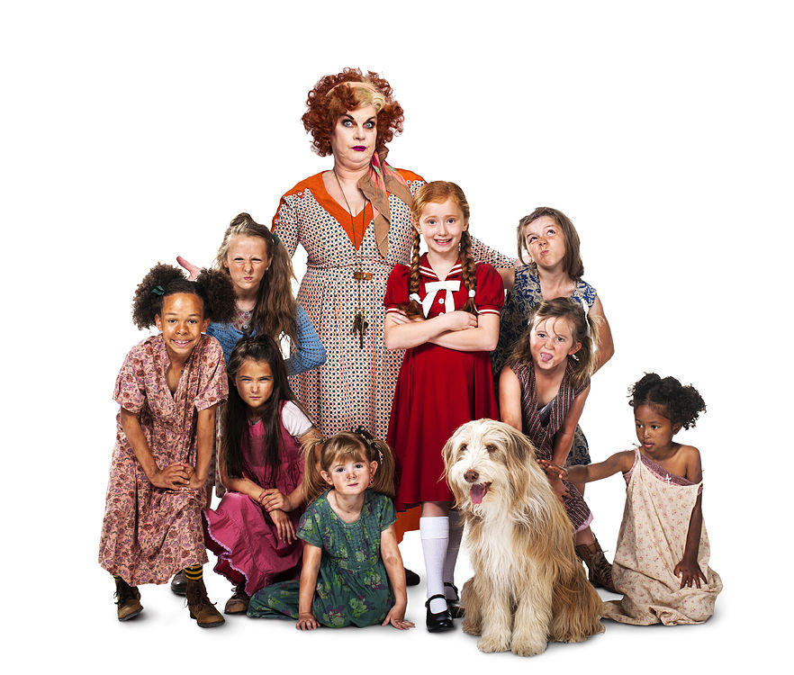 ANNIE - Elaine C.Smith as 'Miss Hannigan' with Annie and orphans
