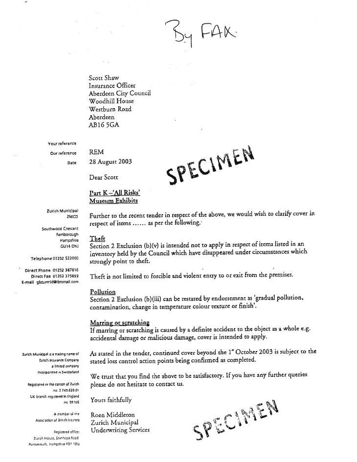 ZM Underwriter's Letter