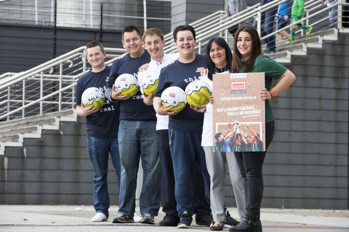 2/7/16 EMIRATES ARENA Glasgow Homeless world cup volunteers. Jacqueline Allen, Sheila Steinan, James Sloan , Graham Buchan, Martin Bilsland, Maiana Mercado
