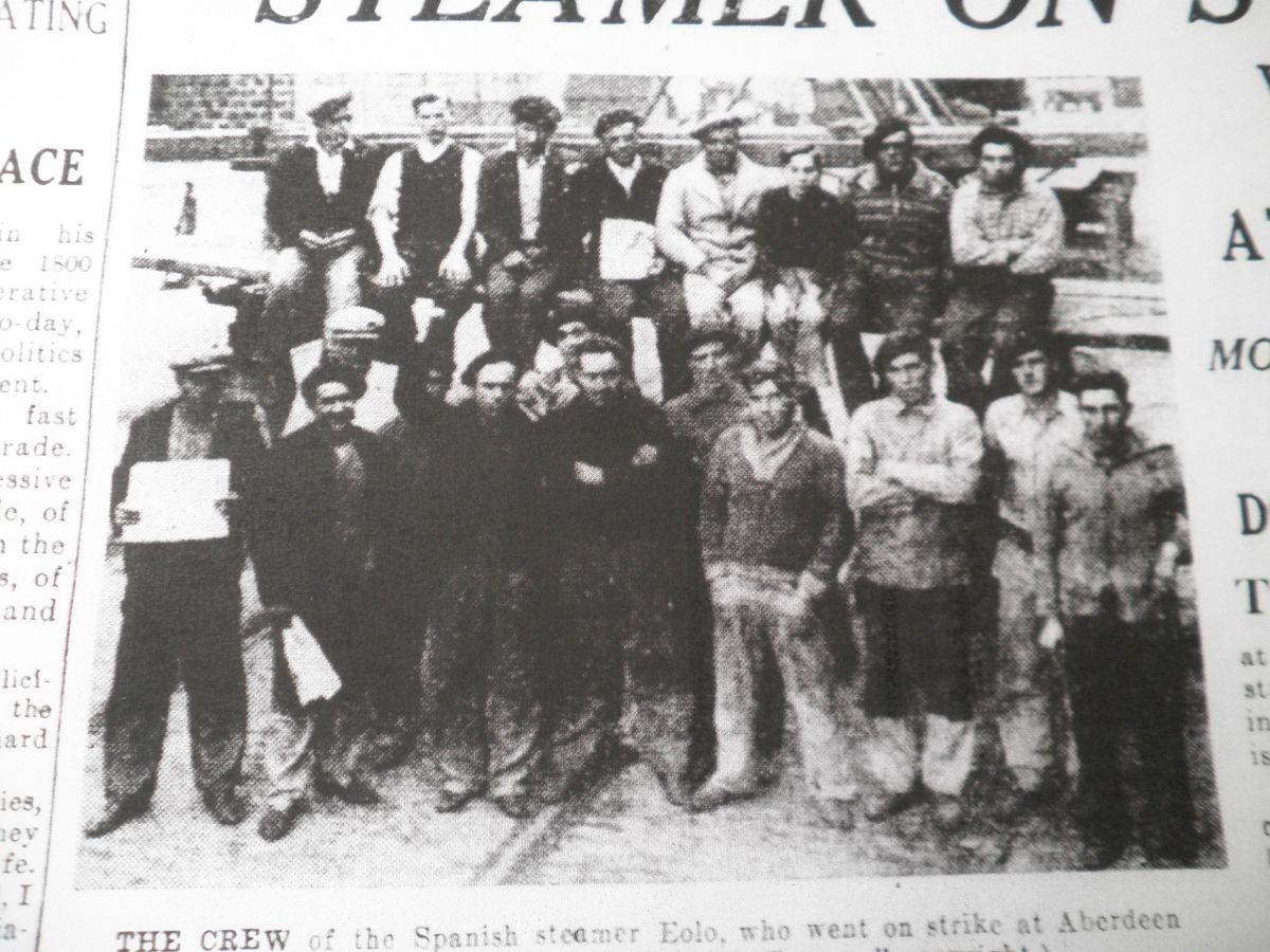 The Crew of Spanish steamer Eolo, which went on strike in Aberdeen in 1936